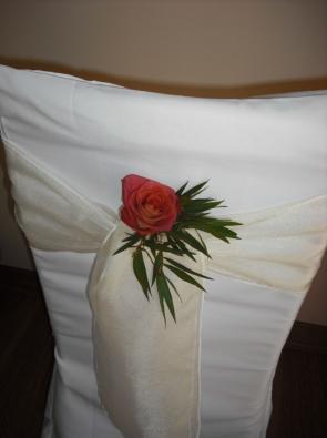 rose on white organza